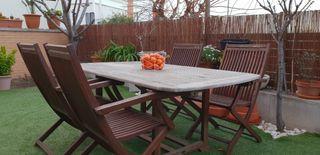 Mesa extensible jardín con 4 sillas