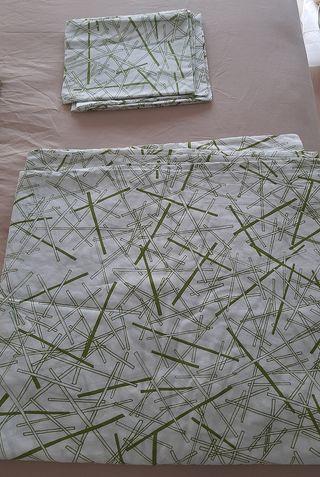 Funda nórdica verde/blanca y Colcha Ikea