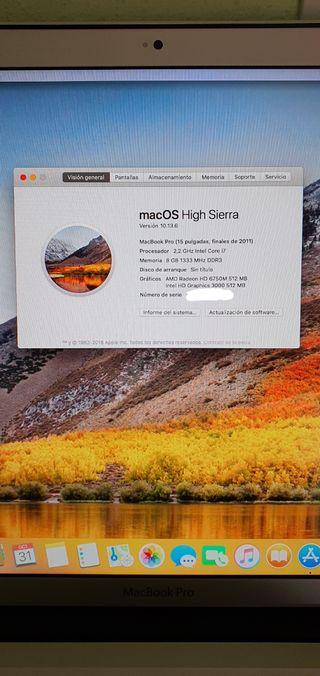 "Macbook Pro 15"" i7 8GB DDR3 500 HDD finales 2011"