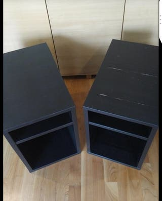 Two black bed side tables