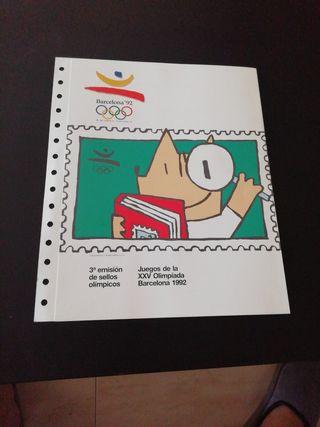 Hoja tercera emisión de sellos olímpicos.