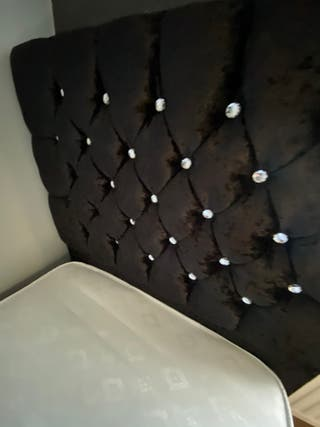 Black crushed velvet single bed with diamonds