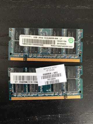 4GB Ram 2x2Gb DDR2 pc2-6400s
