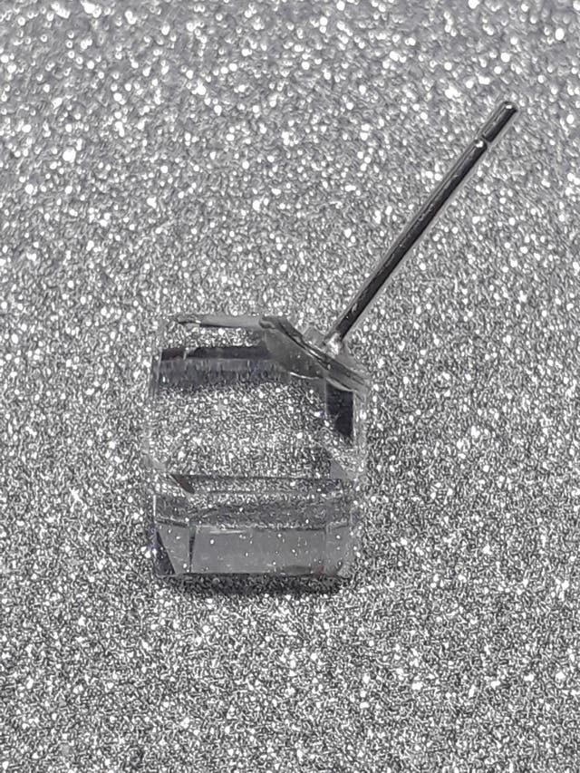 925S.S 925 Stud Rainbow Square Transparent Cubic Z