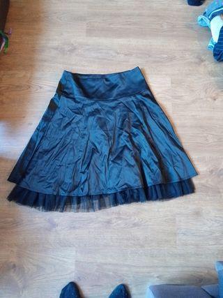 Falda raso y tul Negra. Talla 36