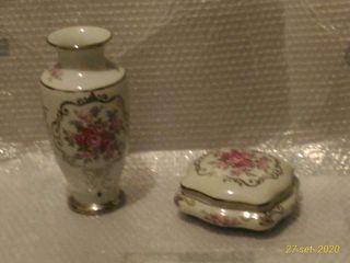 juego jarron y caja de porcelana