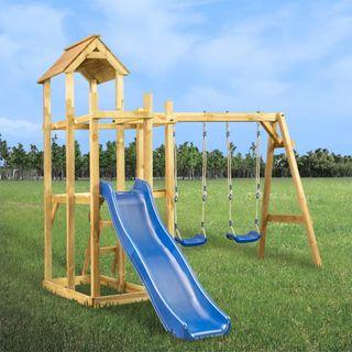 Parque infantil tobogán, columpios y escalera