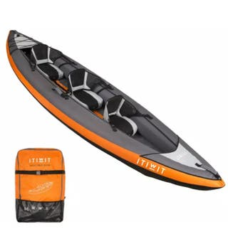 Kayak hinchable+bomba eléctrica+palas