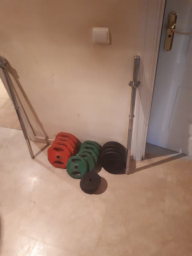 Juego pesas y barra