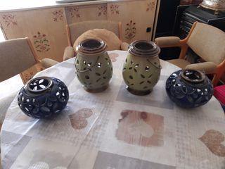 4 jarrones porta velas