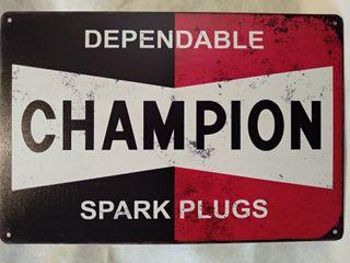 Cartel chapa Champion Dependable