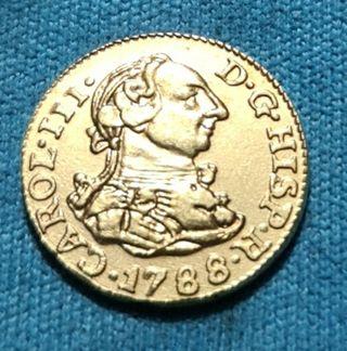 Moneda de 1/2 Escudos de Oro chapado CARLOS III