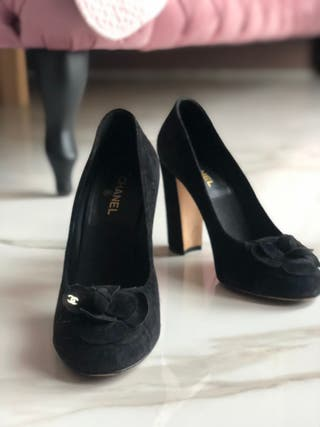 Chanel suede black shoes