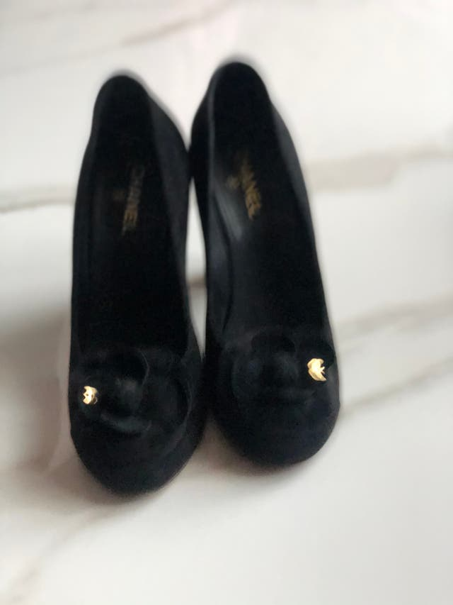 Chanel suede black shoes