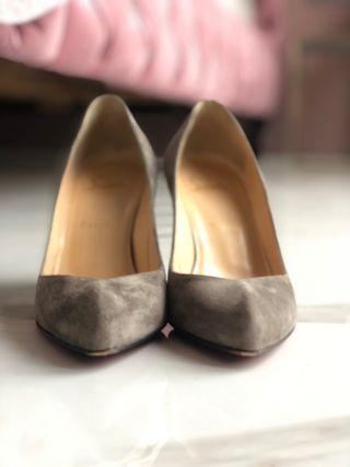 Christian Louboutin grey suede shoes