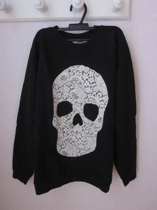 sudadera negra jersey calavera encaje gotico punk
