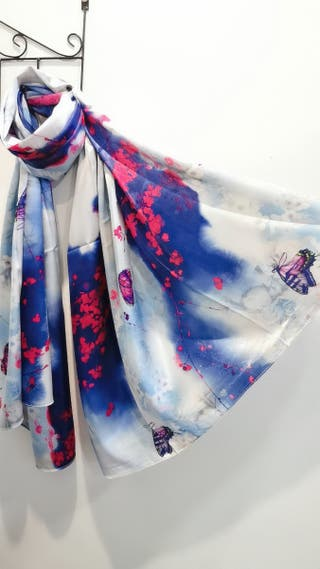 pañuelo fular de seda reversible