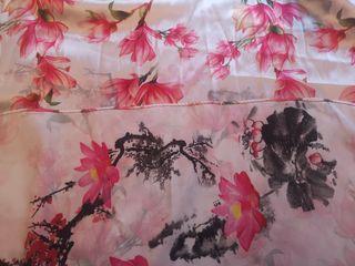 Pañuelo/fular seda oriental,loto,2 caras,japones