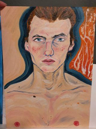 Pintura al oleo retrato masculino