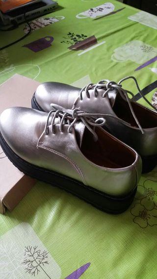 zapatones plateados t. 38