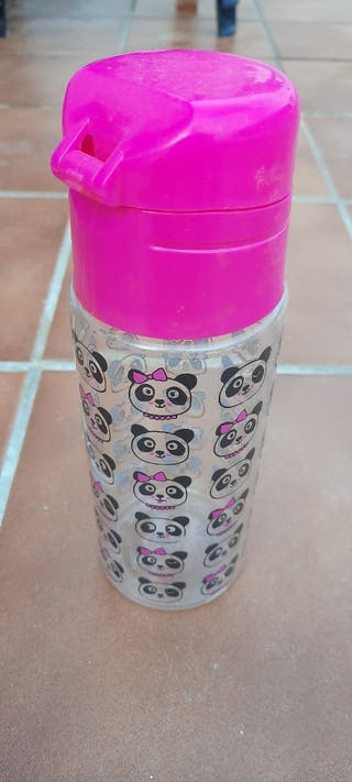 Botella infantil plástico rosa cole excursion niña