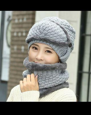 Wool Cap Two Neck Knitted Hat Children's Thickenin