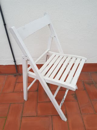 silla plegable madera blanco segunda mano