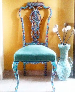 Silla Multicolor. Restaurada Antigua Siglo XIX