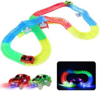 Circuito de coches de juguete con luz