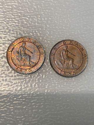 2 monedas 1 céntimo 1870