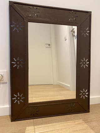 Espejo de hierro forja marrón oscuro