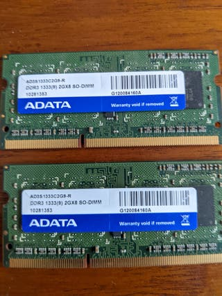 Memoria RAM DDR3 2x2GB (4GB) SODIM - PORTATIL