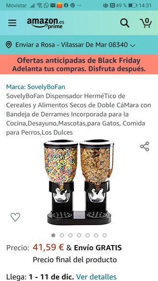 Dispensador doble de cereales