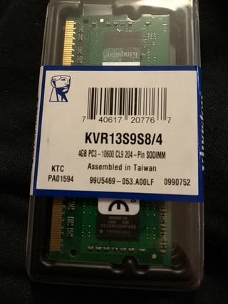 Kingston KVR13S9S8/4 - Memoria RAM de 4 GB (1333
