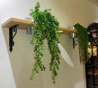 Estanteria con plantas artificiales de decoración.
