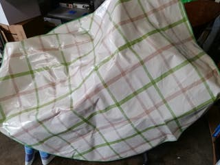 hule redondo plastificado lavable 1,40 diámetro