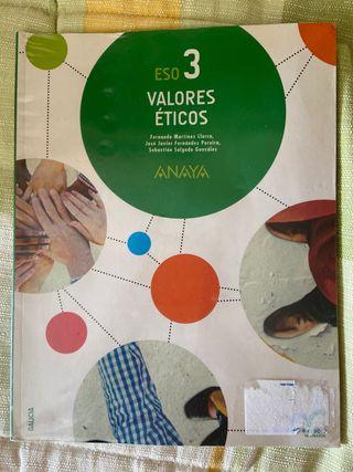 Libro Valores Éticos 3 ESO ANAYA