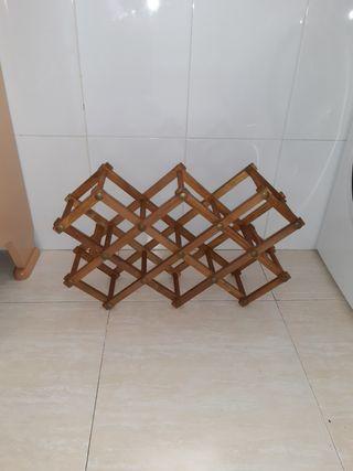 Botellero de madera plegable