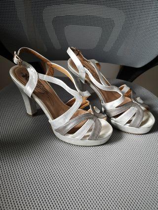 Zapatos sandalias fiesta boda plataforma plata