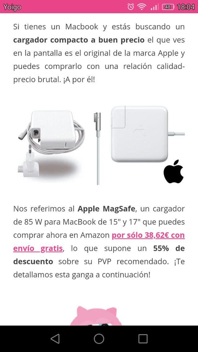 se vende cargador apple