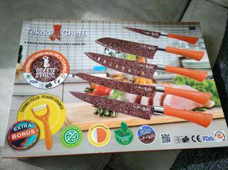Set de 5 cuchillos y pelador