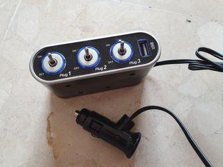Cargador coche, mechero, USB.
