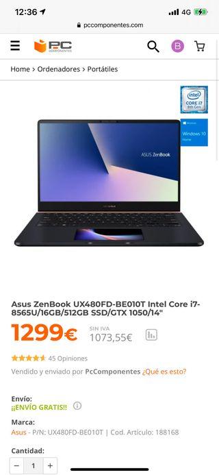 Portátil 2020 Asus Zenbook UX480FD INTEL CORE I7
