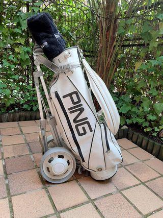 Palos de golf Ping Eye2, maderas, bolsa y carrito