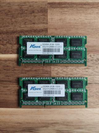 Módulos de memoria RAM DDR3 2GB para portátil.