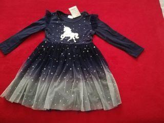 Vestido unicornio azul marino y plateado