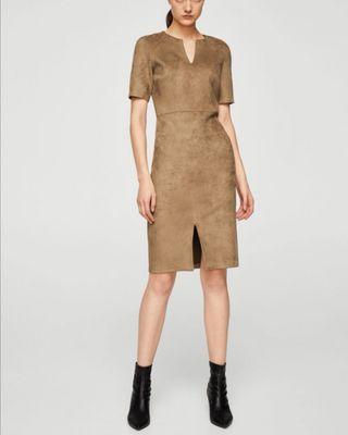 Vestido efecto ante marrón. T. S