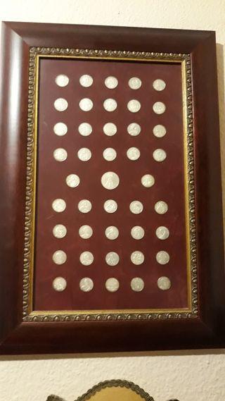Cuadro colección monedas plata de ley