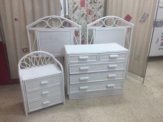 Dormitorio mimbre en blanco