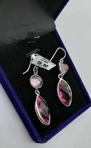 Pendientes de plata 925 y piedras rosas facetadas